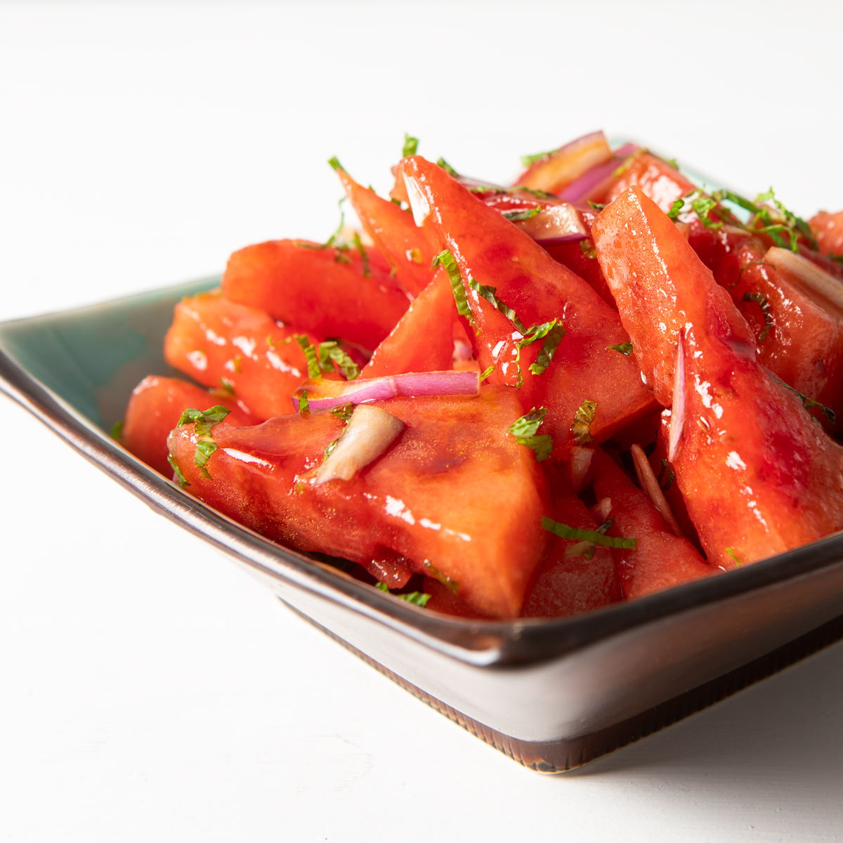watermelon salad with mint red onions and balsamic