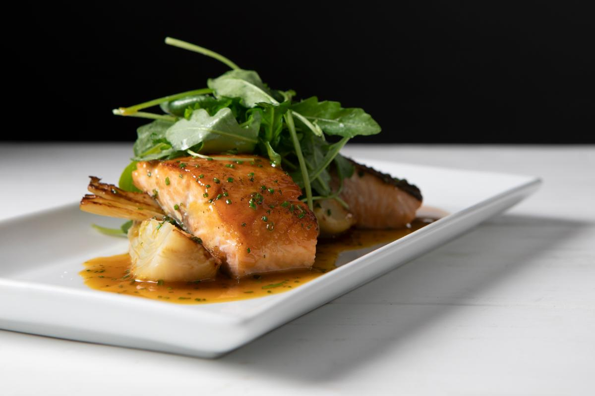 salmon fillet on plate