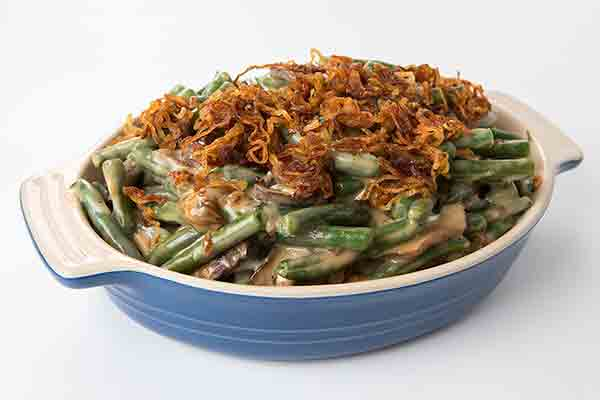 green beans in a casserole dish