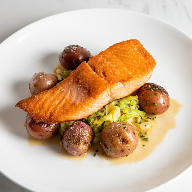 Seared Salmon with Cabbage & Potatoes