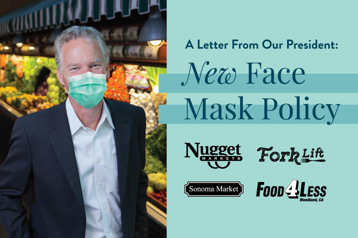 photo of Eric Stille with mask and text saying a letter from our president: new face mask policy