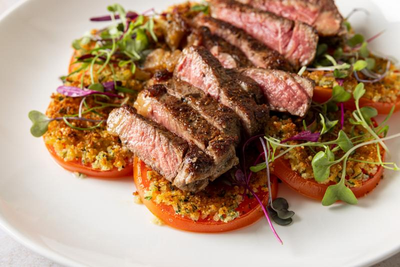 Wagyu New York Steak with Provençal Tomatoes