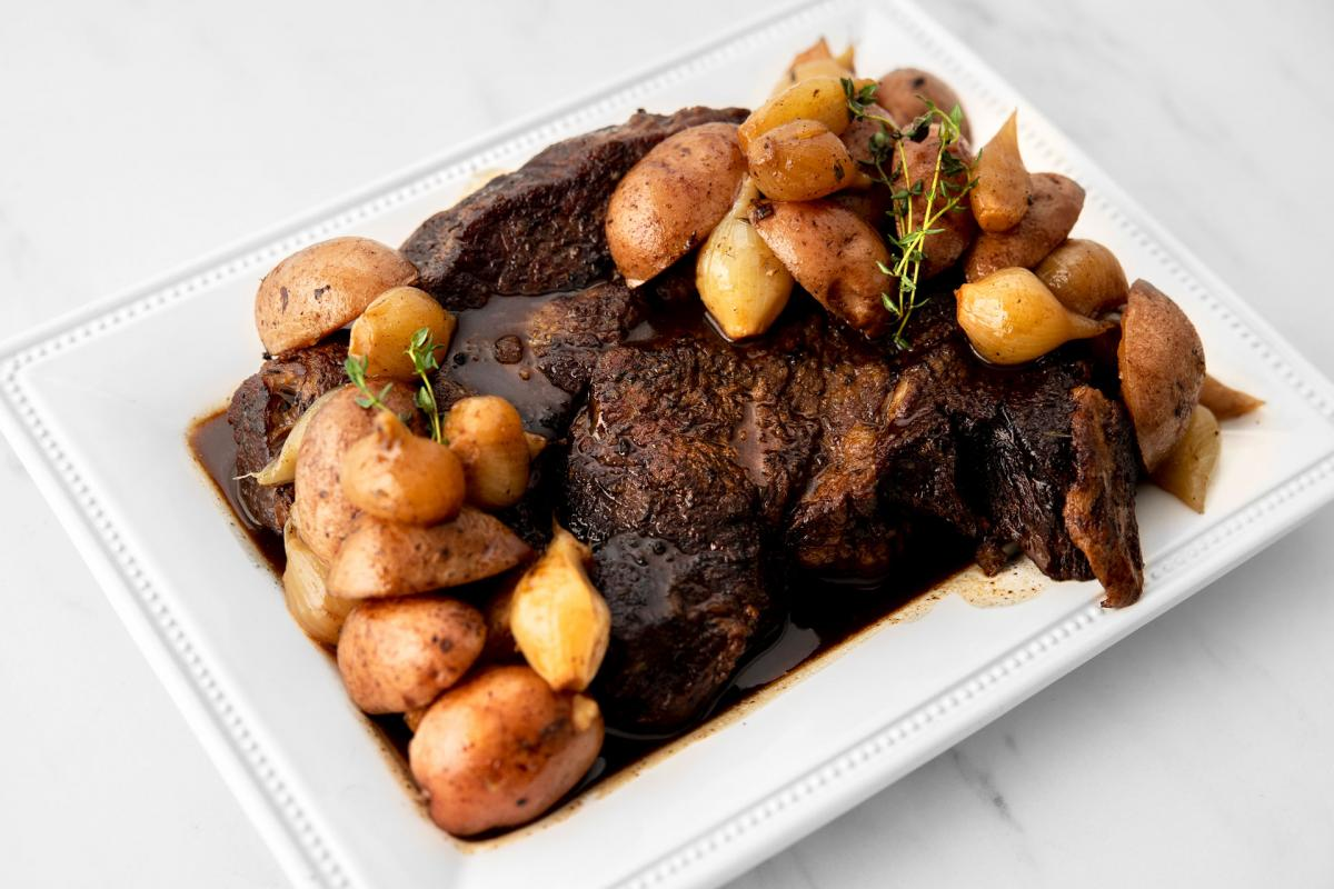 Balsamic Pot Roast with Pearl Onions
