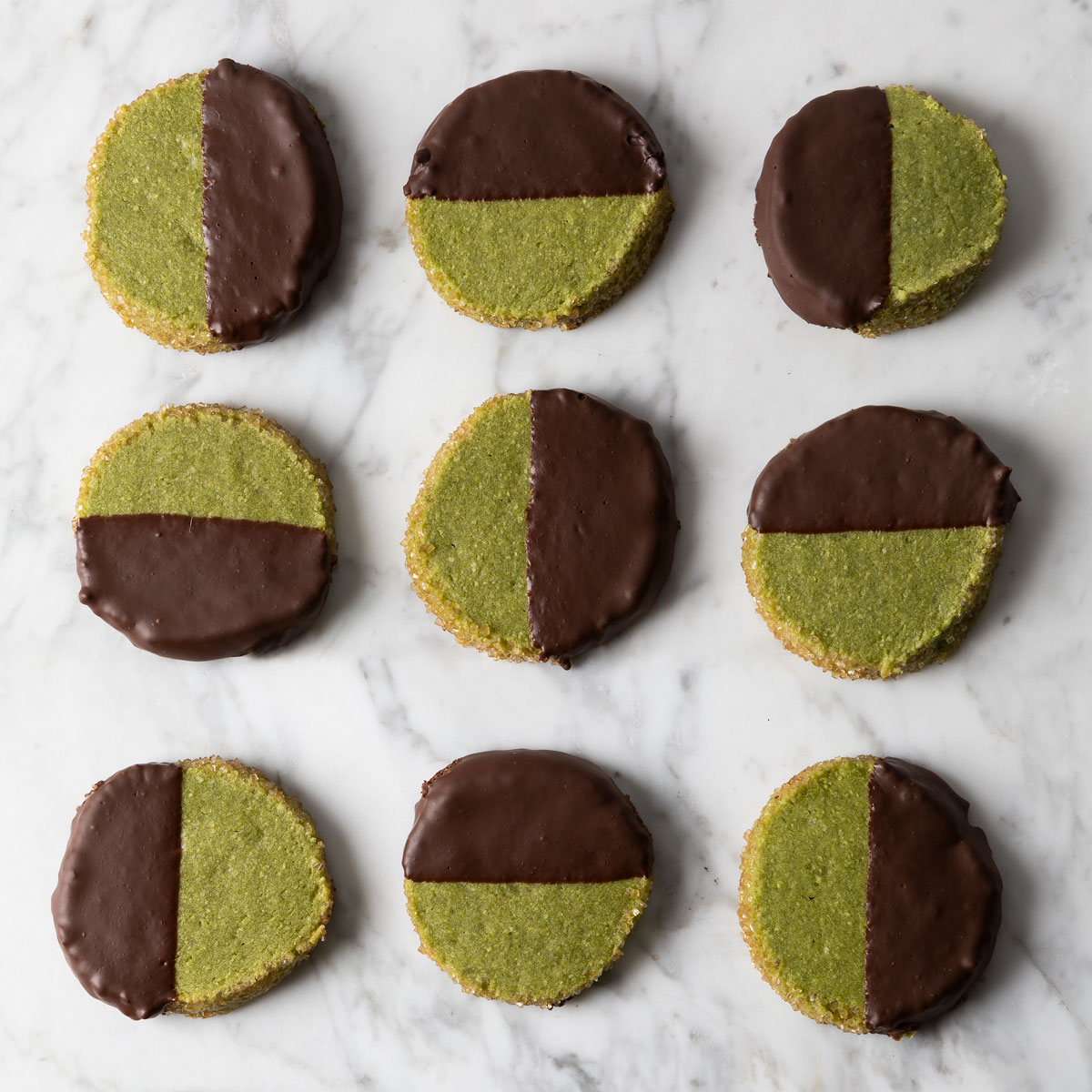 chocolate chipotle matcha almond shortbread cookies