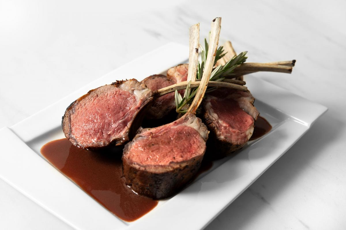 Pan-Roasted Rack of Lamb with Red Wine Dijon Demi-Glace