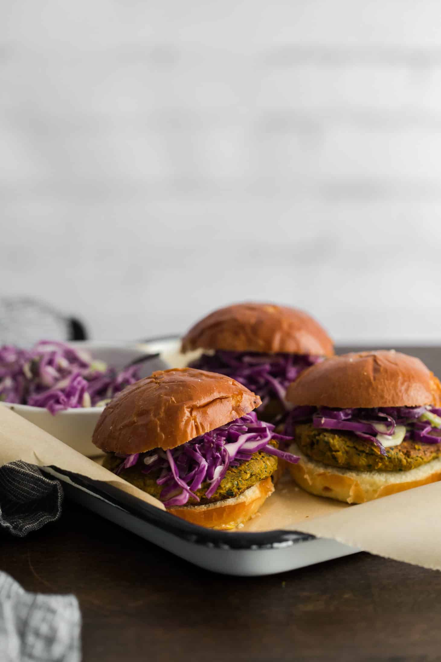 Curry Chickpea Burgers with Coconut Cabbage Slaw