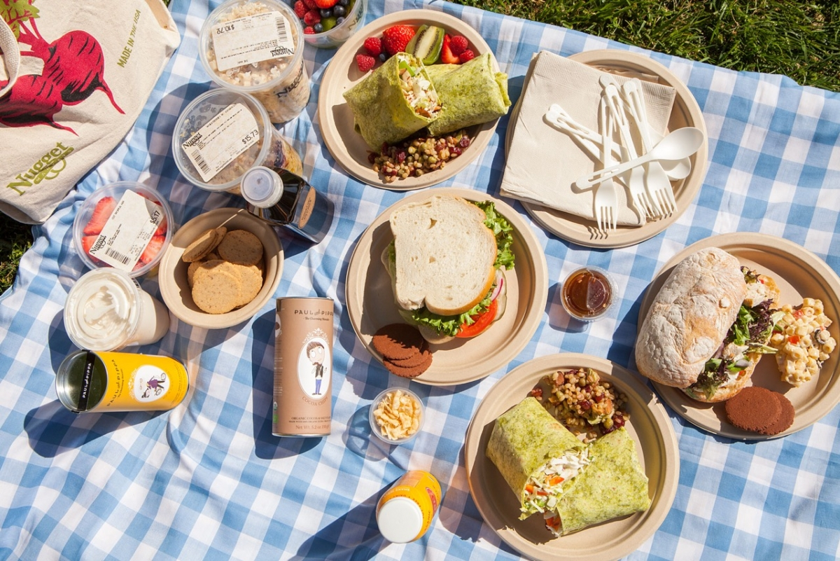 Deli Items on a picnic blanket