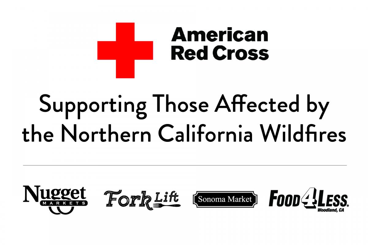 American Red Cross and all nugget logos with text: supporting those affect by the Northern California wildfires