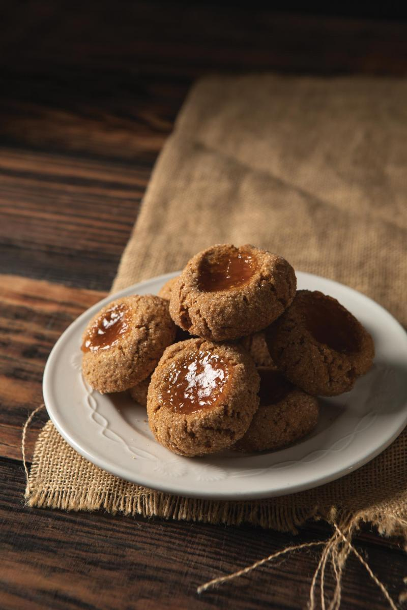 graham cracker thumbprint cookies with apricot jam