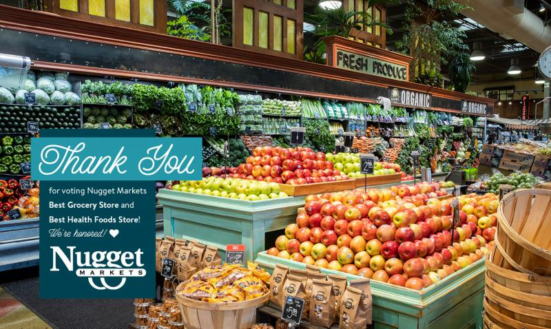produce department with thank you text and logo