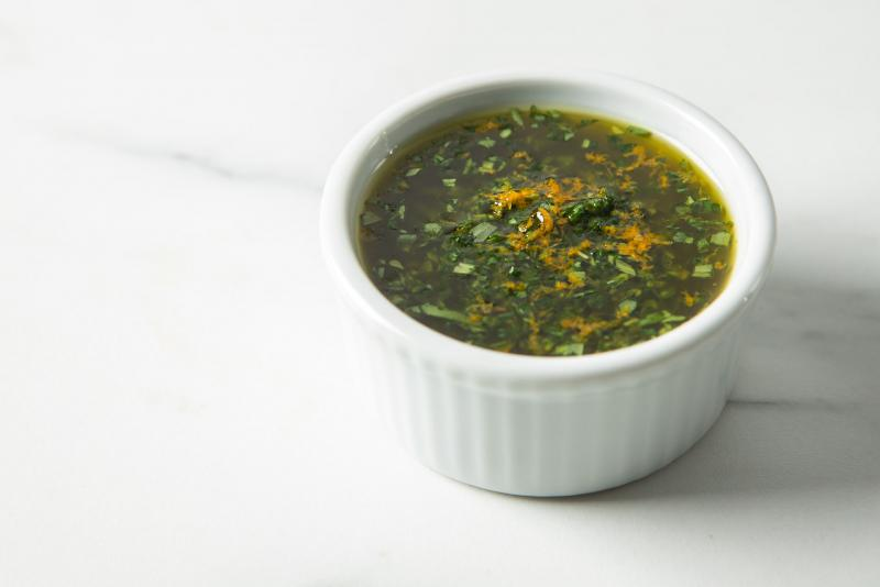 herb oil in a ramekin