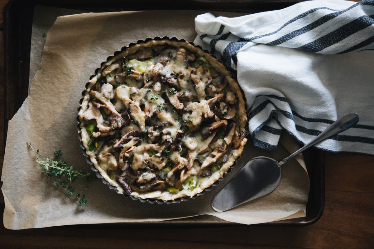 Leek and Mushroom Breakfast Tart with Salt-and-Pepper Crust
