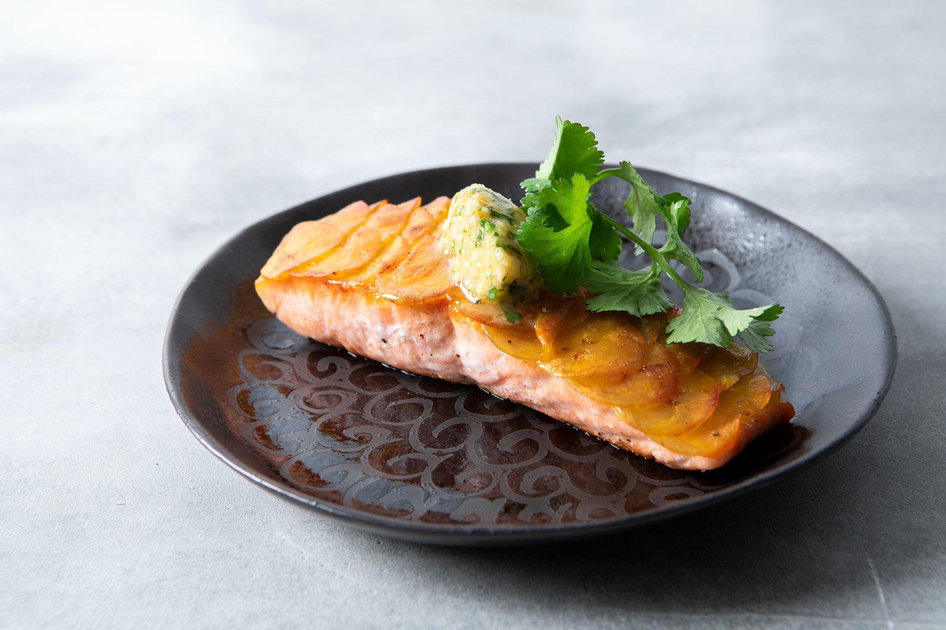 Plantain-Encrusted Salmon with Blood Orange & Mango Butter