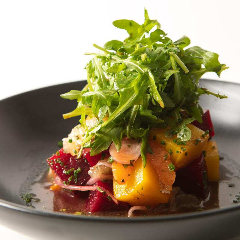 beet and citrus salad on plate