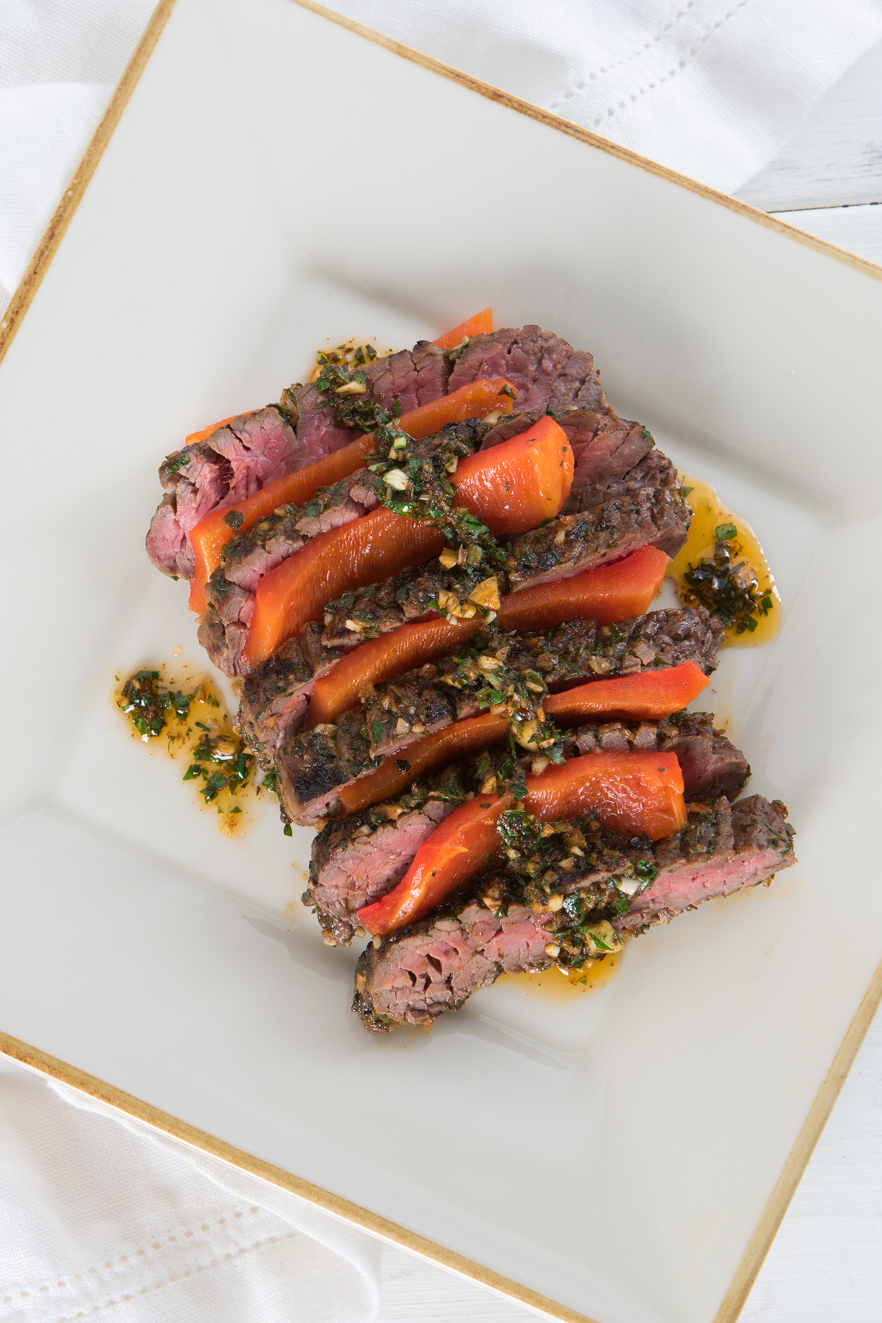Herb Grilled Skirt Steak with Red Bell Pepper