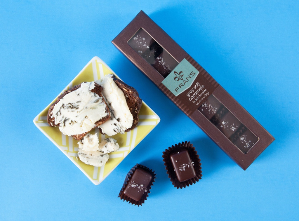 Bongrain St. Agur blue and Fran's Gray Sea Salt caramels
