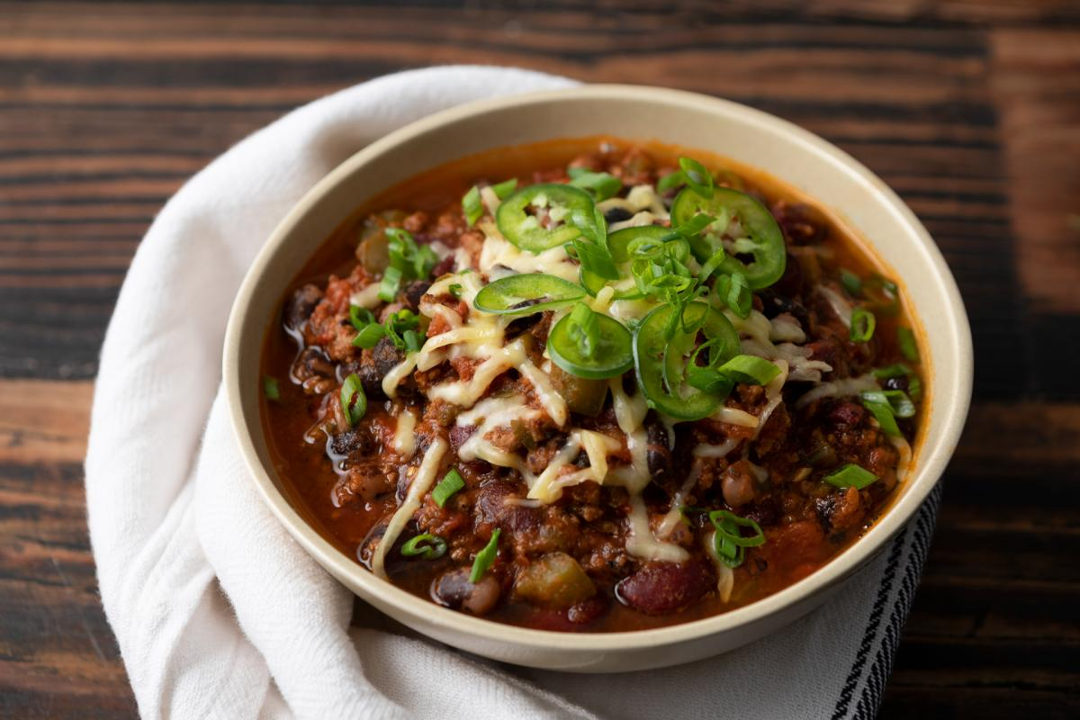 chili with beans, cheese and jalapeños