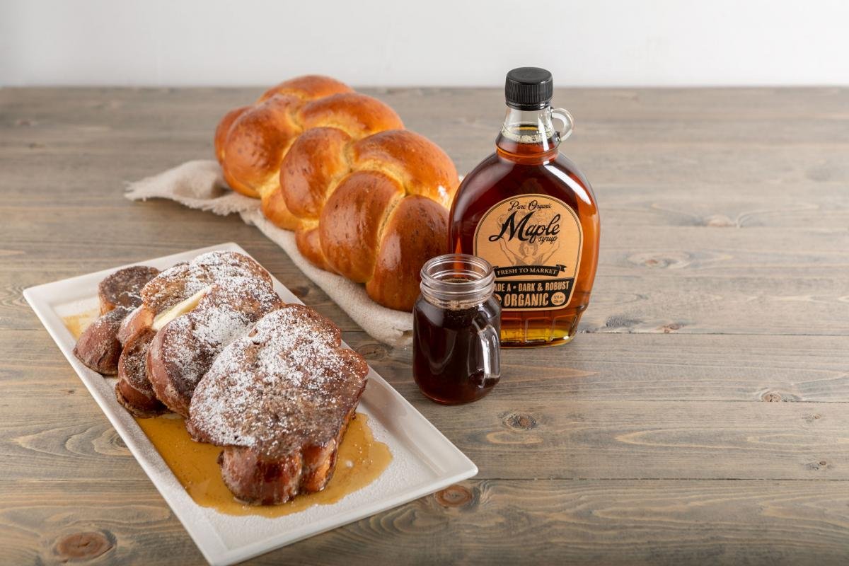 challah French toast with maple bourbon syrup