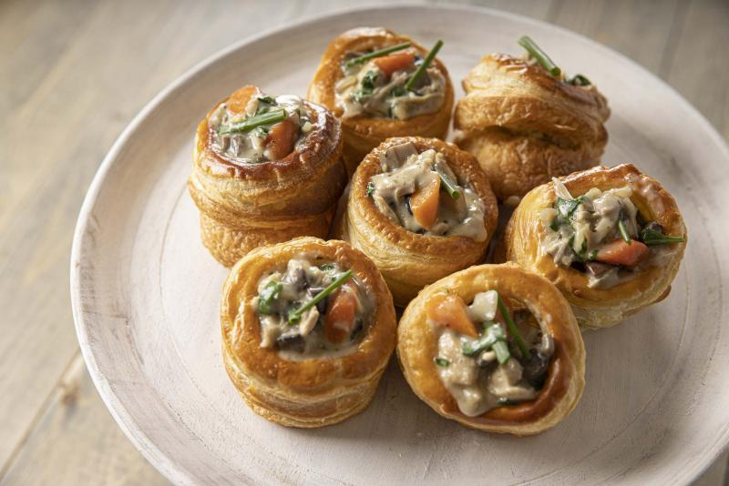 7 chicken and mushroom vol-au-vent on a plate