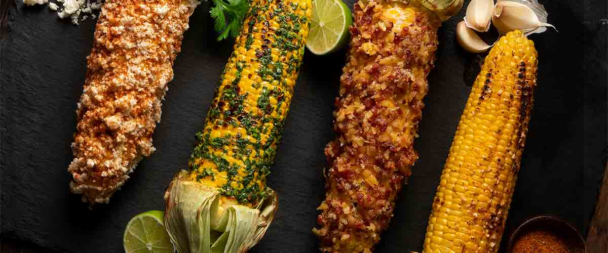 Four styles of corn on the cob
