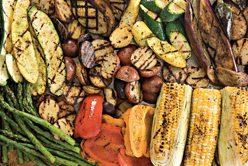 grilled veggies in a sheet pan